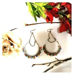 Jewelry - Colorful Hoop & Chain Fashion Earrings